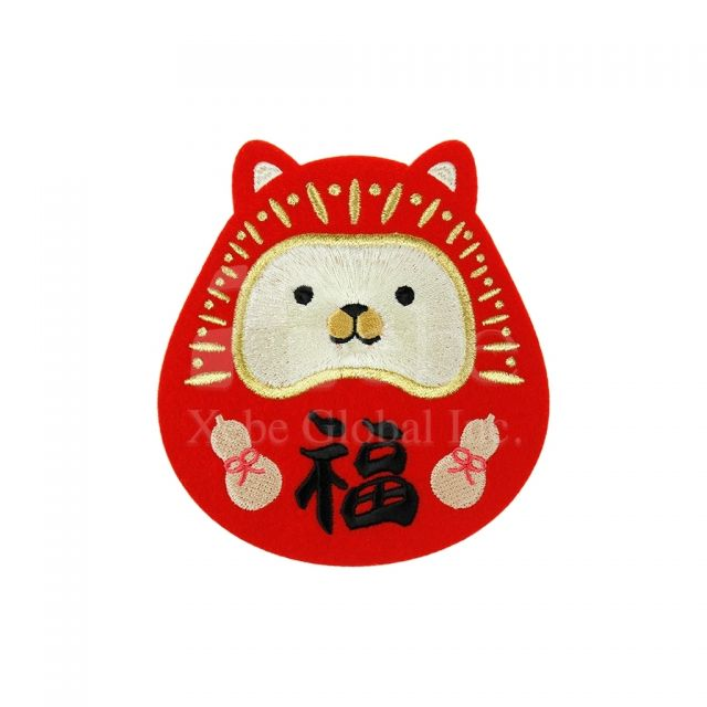 Lucky dog electric embroidery custom coasters Chinese new year gifts